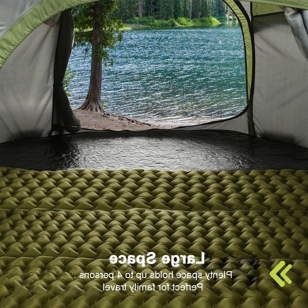 4 Person Camping Tent Instant Waterproof Green