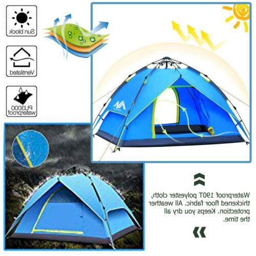 4 Dome Tent Instant Pop Waterproof Travel Sun Canopy Green