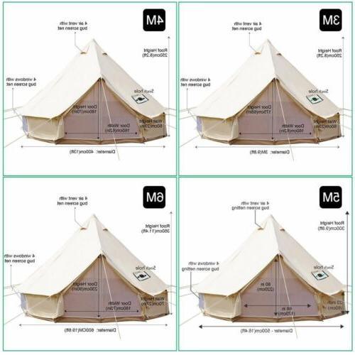 Bell Tent 4-Season Sun Canopy Sibley Waterproof Cotton Canvas