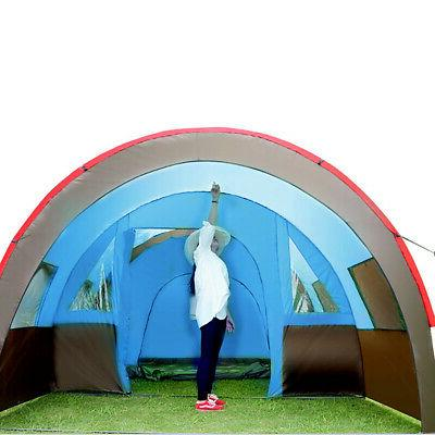 8 - 10 Large Tent Waterproof Tunnel Camping Hiking Layer
