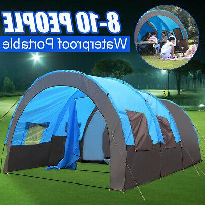 8 - 10 People Large Outdoor Tent Waterproof Tunnel Camping H