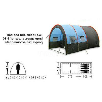 8 10 Large Outdoor Tent Tunnel Camping Hiking Double Layer