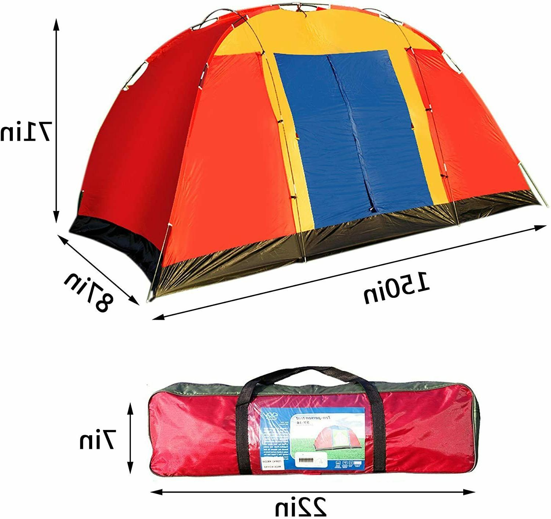 Koreyosh 8 Person Tent Hiking Dome Family Red