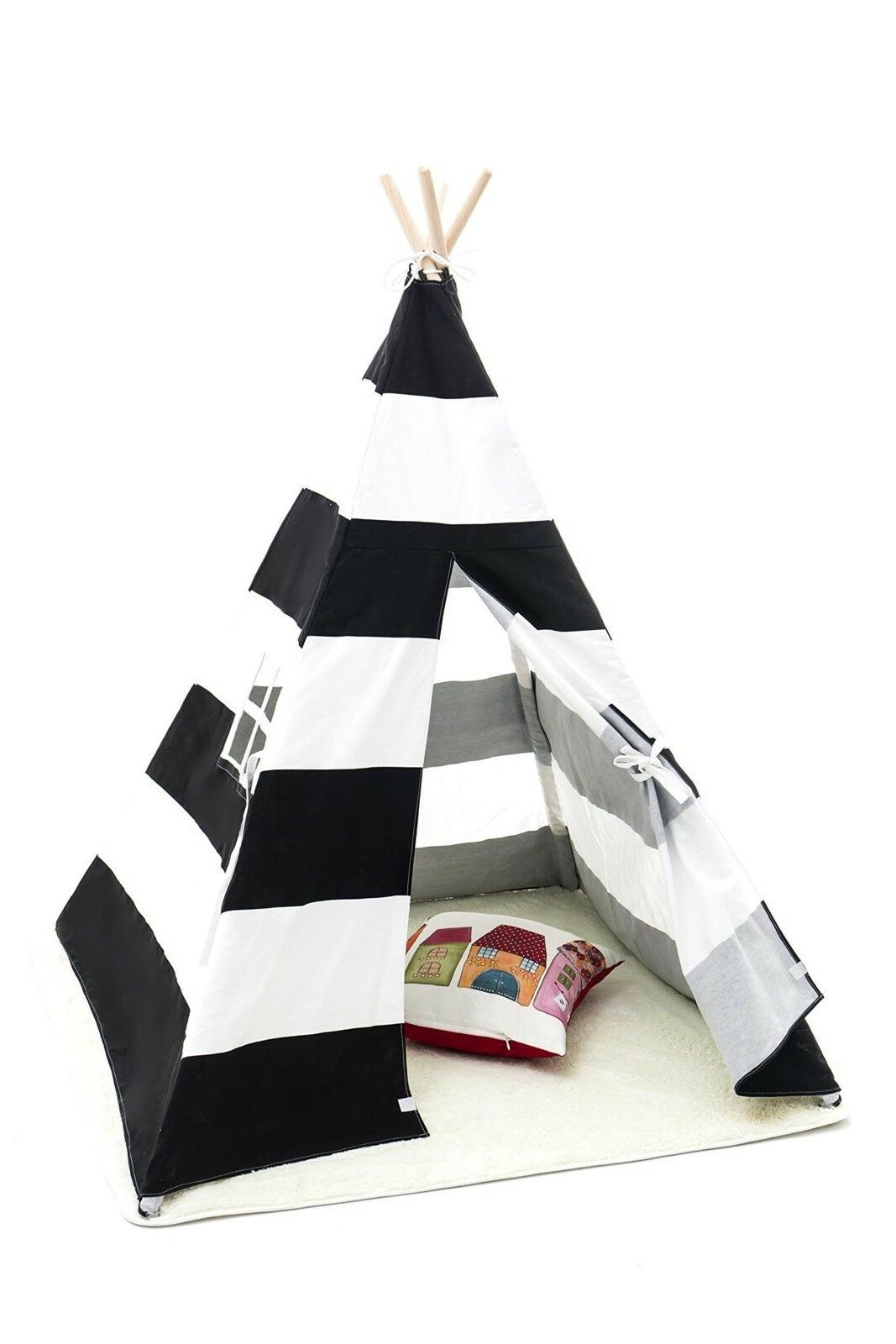 Small Boy Stripe Canvas Play Teepee Tent for Kids 100% Cotto