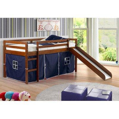 Twin Tent Loft with Slide and Slat-Kits Light Espresso, Blue
