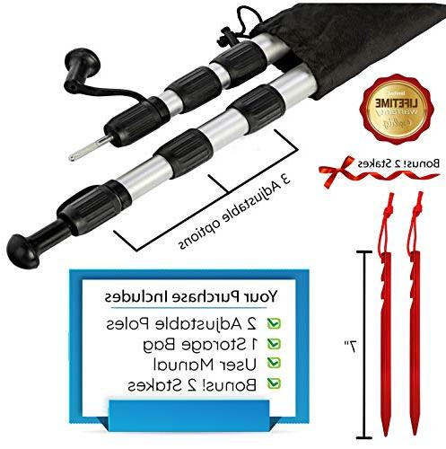Telescoping Set 2, Canopy Adjustable Aluminum Rods, Portable, For Fly, Awning, Outdoor Hiking, Shelter, 2 Stake