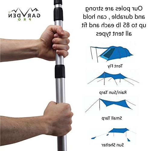 Telescoping Tarp Set Portable, Lightweight Fly, Awning, Outdoor Shelter, Free 2 Stake