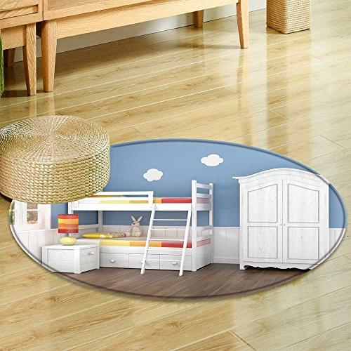 Anti Skid Area Rug Children S Bedroom In Blue Walls