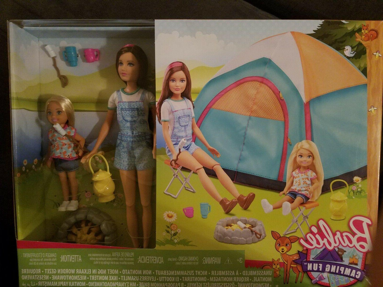 2 doll playset BRAND NEW Barbie Camping Fun TENT with Skipper and Chelsea dolls