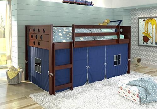 Donco kids780ATCP_750C-TB circles low loft Bed W/Blue Tent,