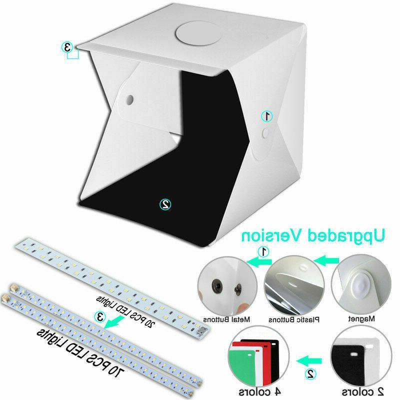 Double LED Photo Photography Light Box Tent Room Kit Backdrops