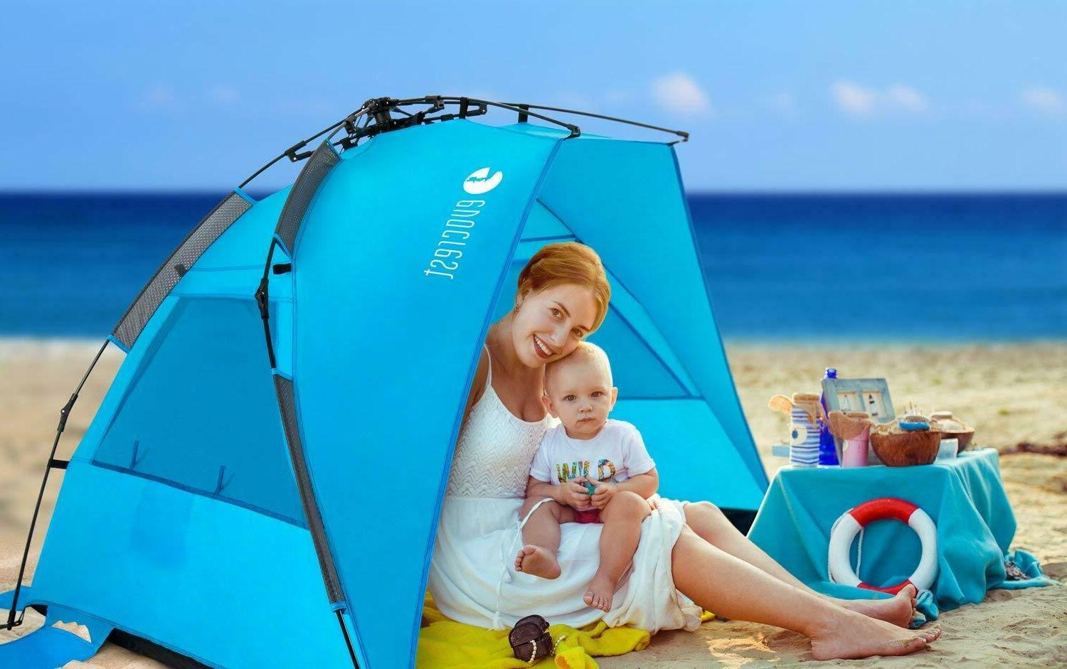 Easy Setup Beach Tent Shelter with UPF Protection
