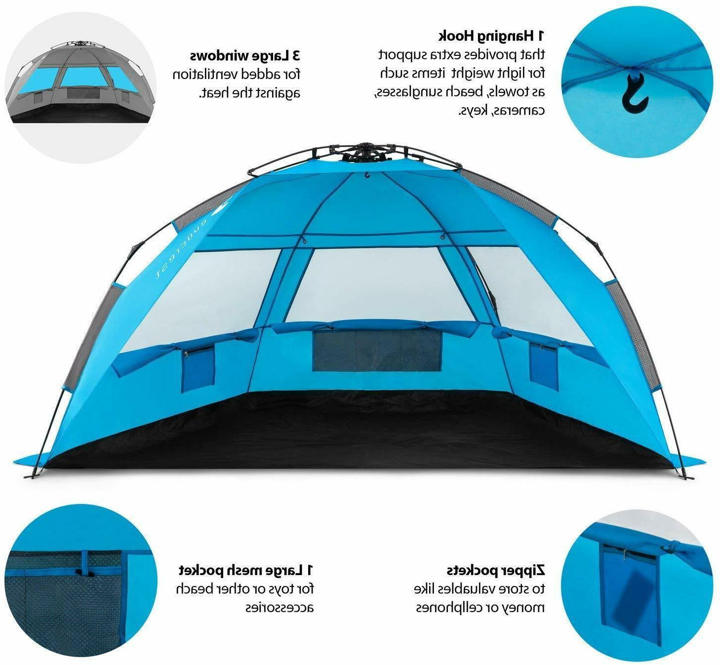 Easy Setup Large Sun Shelter UPF 50+ Protection