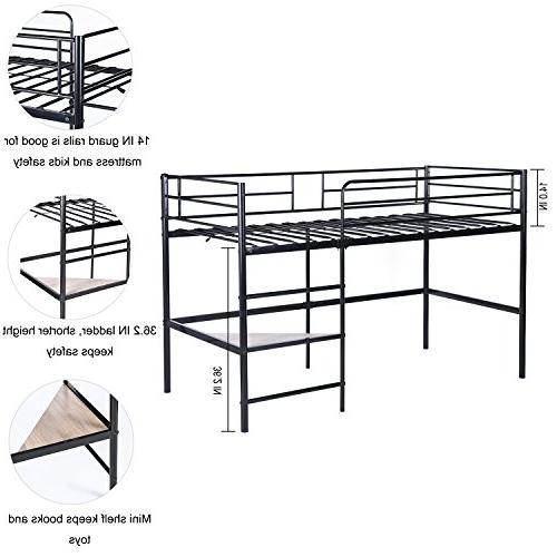 GreenForest Metal Loft for Kids Size Low Bunk Bed Frame with