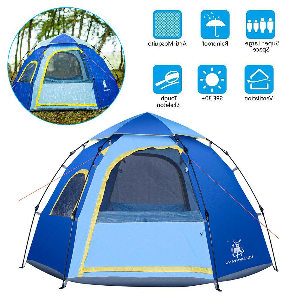 Camping Instant Pop Up Tent Family Outdoor Dome Tent 4-6 Per