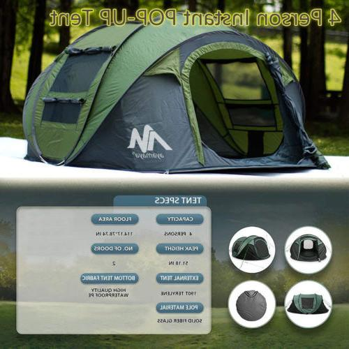 Instant Pop 4-5 Person Family Backpacking Hiking Tent