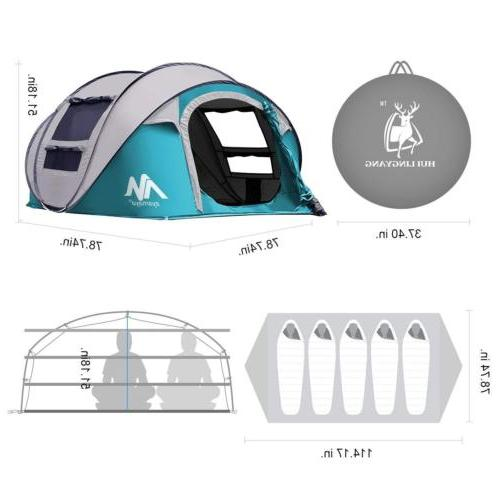 Instant Pop Tent 4-5 Person Backpacking Hiking Camping Tent
