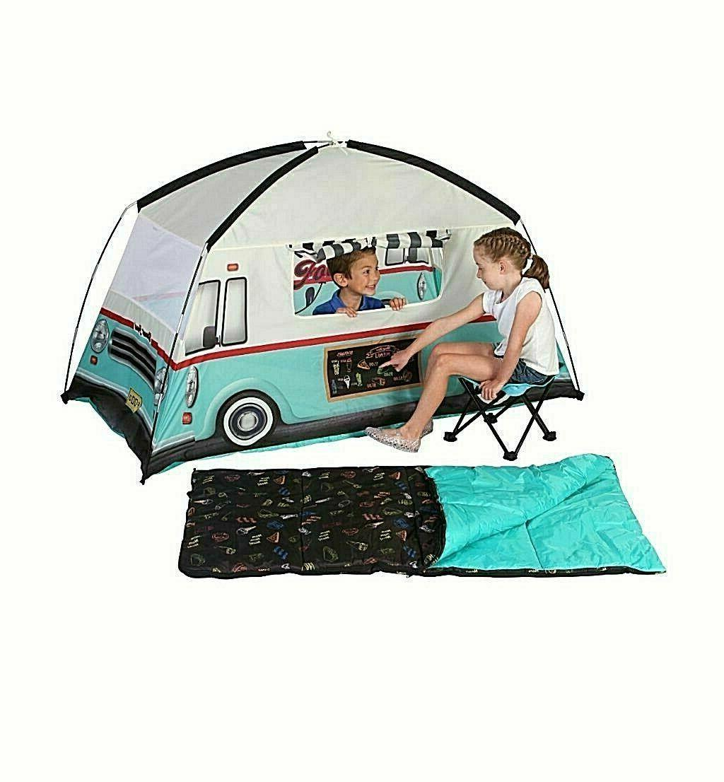Kids Camping 4 Piece Combo Food Truck Tent Sleeping Bag - Ne