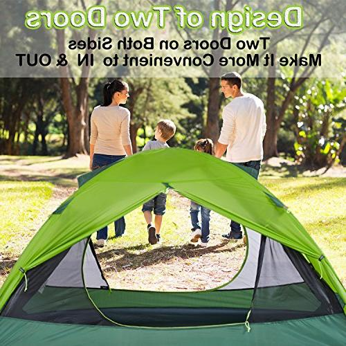 Topnaca Naturehike Ultralight 2 Person 3 Tent Camping, Coated Lightweight Double Rods Hunting