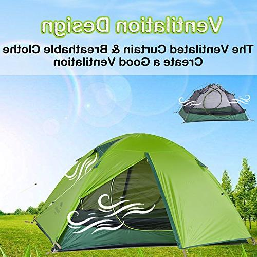Topnaca Ultralight 2 Person Season Tent Camping, Silicone Lightweight Doors Double Rods Outdoor
