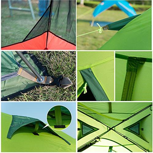 Topnaca Person 3 Season Tent Lightweight Double Layer Anti-UV Aluminum Rods Outdoor Hunting