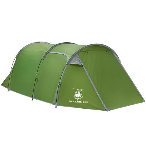 5-6 Person Family Camping Tunnel Tent Two-Room Waterproof Hi