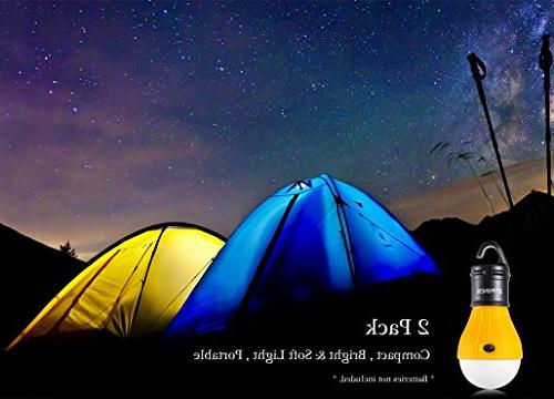 E-TRENDS 2 LED Tent Light for Camping Hiking Battery Powered Lamp with 6 AAA