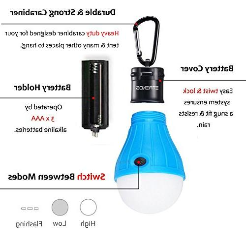 E-TRENDS 2 Pack LED Lantern Light Bulb Emergency Powered Camping Lamp with AAA