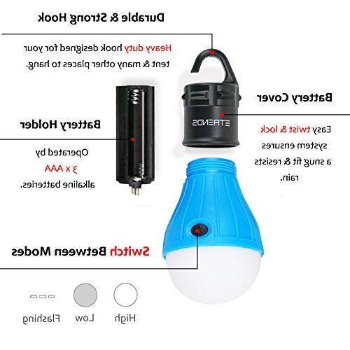 E-TRENDS LED Lantern Camp Hiking Emergency Battery Powered with 6 AAA Batteries,