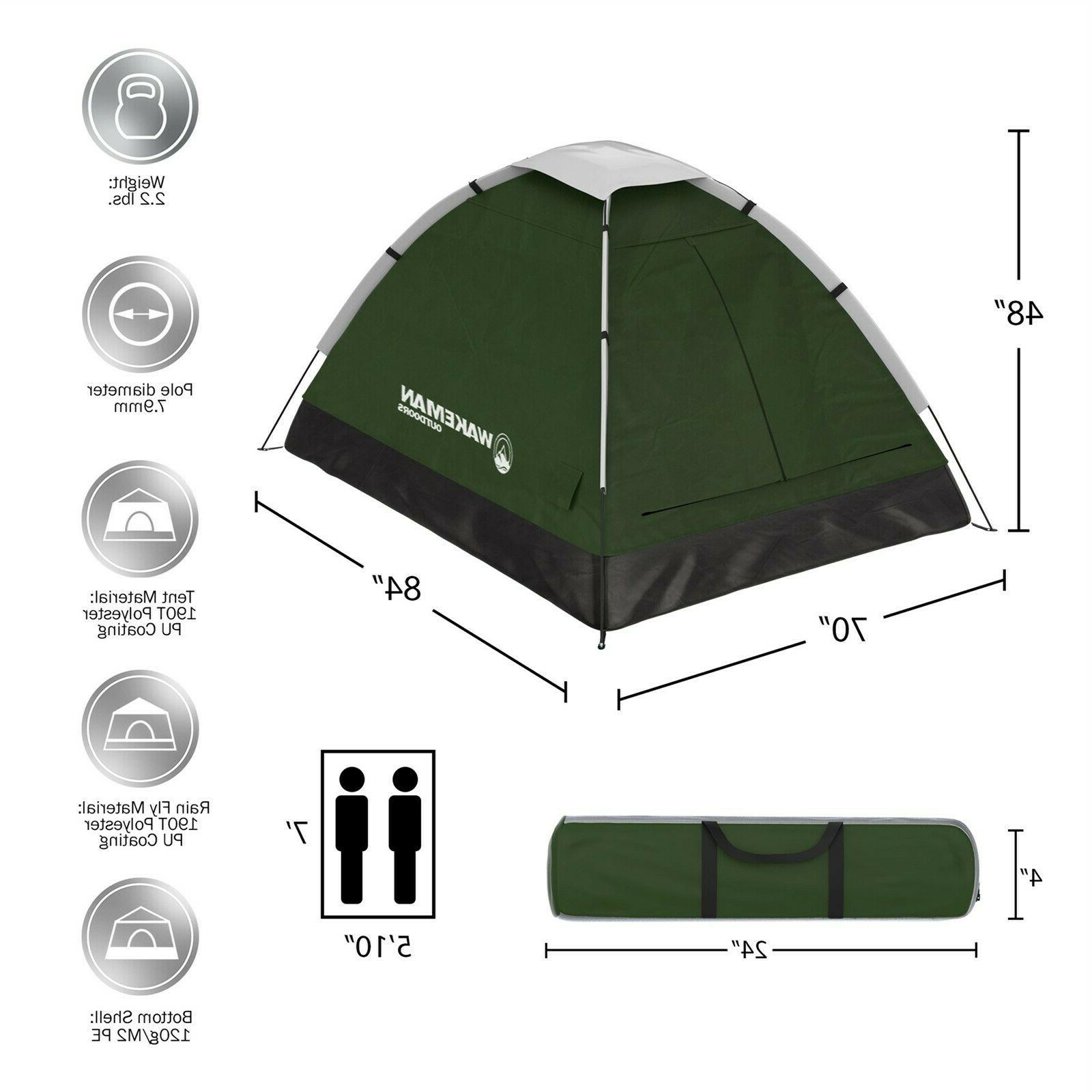 Two Person Green Tent Kids Adult Assembly