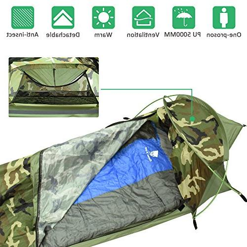 Geertop Compact Single 1 Person Waterproof Bivy I for Camping Fast Easy Setup