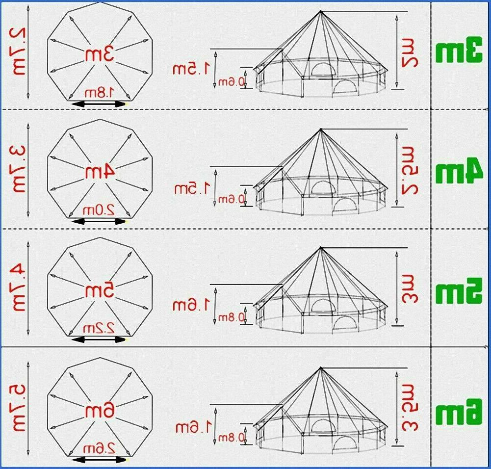 US Shipped 3M/4M/5M/6M Camping Canvas Bell Tent Glamping Yurt
