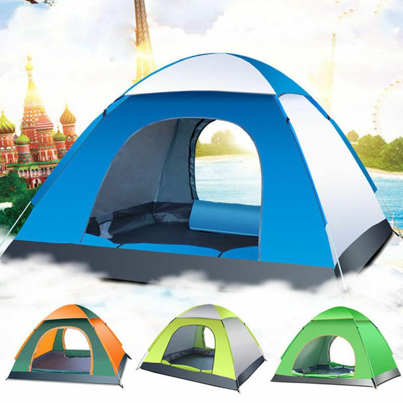 Waterproof 3-4 Person Camping Tent Automatic Pop Up Quick Sh