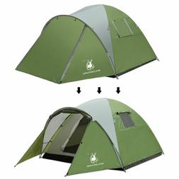 Large Camping Tent 2 Room 4 Person Double Layer Family Cabin