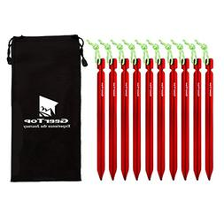 Geertop Lightweight Aluminum Tent Peg Stakes with Reflective