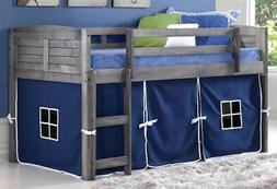 Donco Kids 790AAG_750C-TB Louver Loft Bed, Twin, Antique Gre