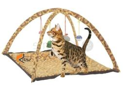 NEW LEOPARD PRINT PET CAT ACTIVITY PLAYING TENT TOY BED PAD