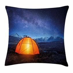Ambesonne Night Throw Pillow Cushion Cover, Camping Tent Und