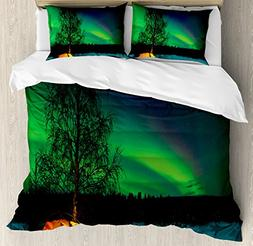Ambesonne Northern Lights Duvet Cover Set, Camping Tent Unde