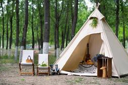 US Ship Canvas Camping Pyramid Tipi Tent Adult Indian Teepee