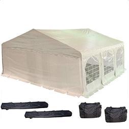 20'x20' PE Party Tent White - Heavy Duty Wedding Canopy Carp