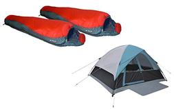 High Peak USA Alpinizmo 6 Men Tent + Two 20F Sleeping Bags C