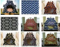 PET BED PUP TENTS 4 CATS OR DOGS ASST NFL TEAM FABRICS