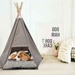 Pet Teepee Dog & Cat Bed - Portable Pet Tents & Houses Soft