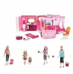 Barbie Pink Glamour Camper Full Set with 4 Dolls