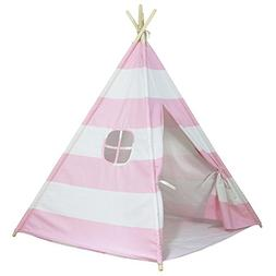 Dream House Pink and White Striped Indoor Play Tent for Girl