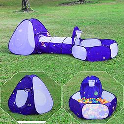 Homfu Kids Tent with Tunnel Pop-Up Playhouse with Ball Pit a