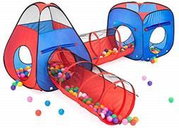 Kiddzery 4pc Kids Play tent Pop Up Ball Pit - 2 Tents + 2 Cr