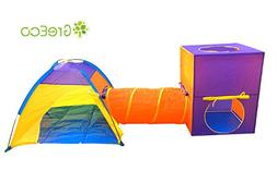 GreEco 3-Pieces Play Tent Set, Children Dome and Tunnel and