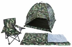 Play Tent Set with Sleeping Bag and Chair Kids Green Camo Do